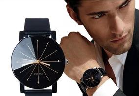 Relógio Masculino Quartz Pulseira De Coro Casual Genebra