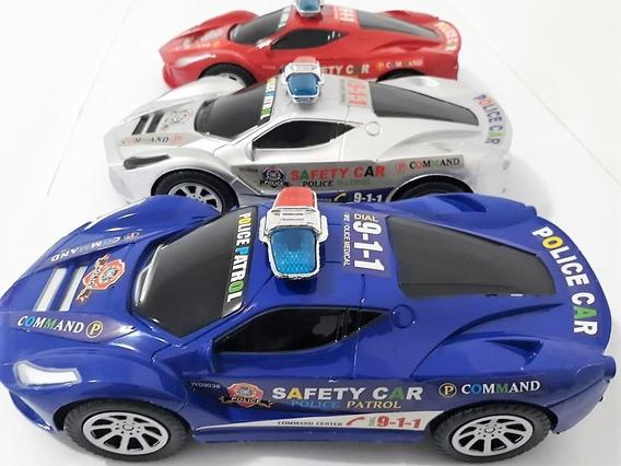 Carro Carrinho Fricção De Plastico Sirene Polícia Safety Car