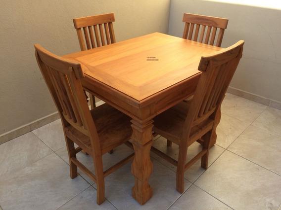 Mesa De Jantar Pequena Quadrada 80x80cm + 4 Cadeiras Madeira De Lei Peroba Rosa