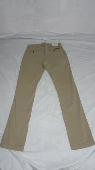 Pantalón Gambossino Gabardina Ocre Beige Hombre Skinny 32
