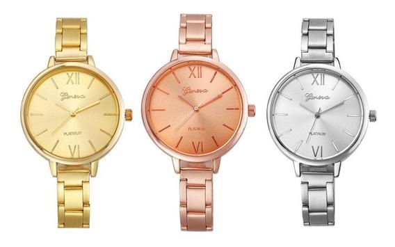 Kit 03 Relógios Femininos Geneva 2845 Dourado, Prata E Rosê