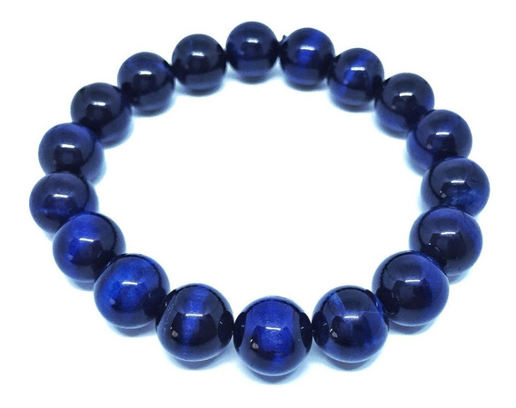 Pulseira Pedra Cristal Olho Tigre Tingido Azul 10mm 119