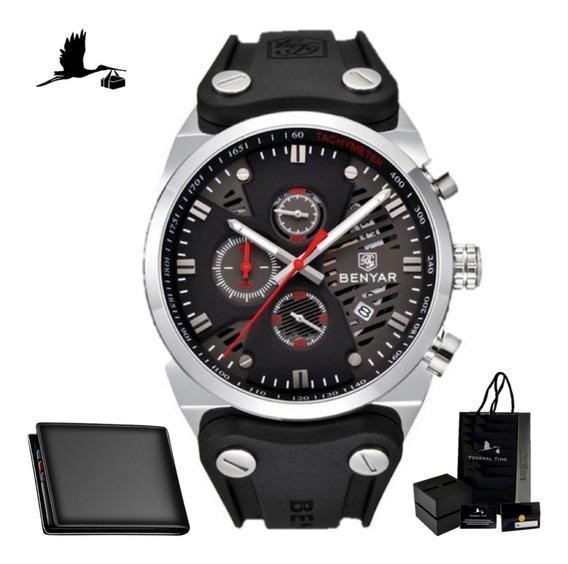 Relógio Masculino Benyar Black Original Preto + Carteira Nf