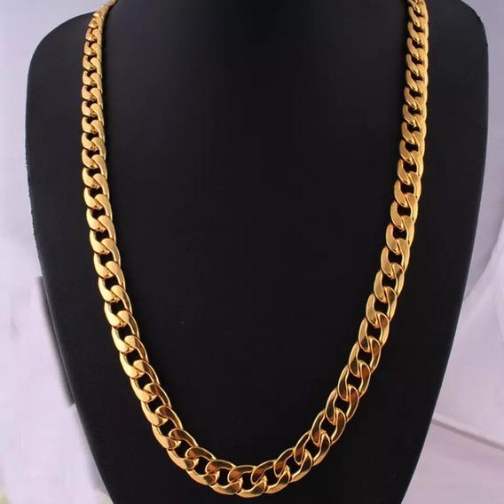 Cordao Dourado, Em Aço Inoxidável, Modelo Luxo Com Elos