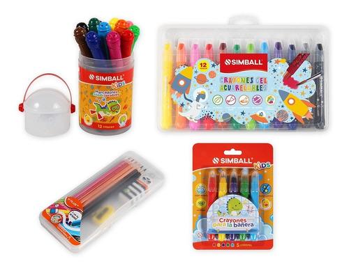 Kit Kids Crayones Bañera Y Acuarelables, Marcadores, Lápices