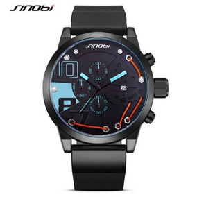 Relógio Sinobi 50mm Sport Azul Analógico Data Cronômetro