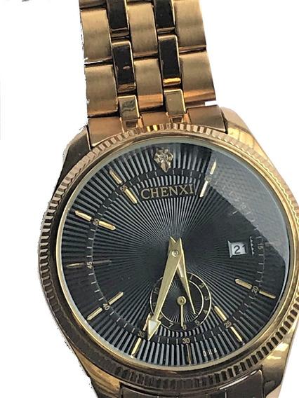 Relógio - Masculino-- Dourado- Prova D Agua 3 B Fundo Preto