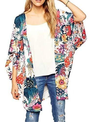 Zexxxy - Kimono De Gasa Para Mujer Diseño Floral