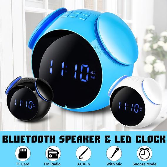Portátil Digital Led Relógio Alarme Sem Fio Bluetooth Alto-f