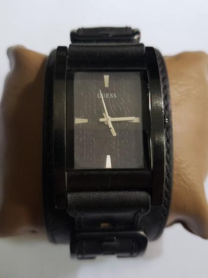 Guess Unisex Bracelete Black Leather Cuff Band 25th Ann