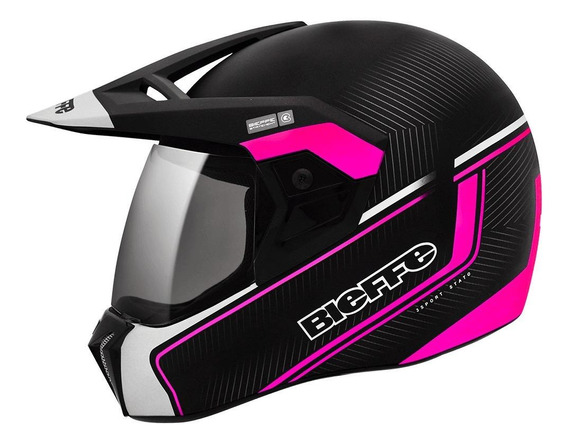Capacete para moto integral Bieffe 3 Sport Stato rosa tamanho 56