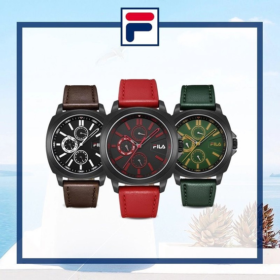 Relógio Masculino Luxo Preto Fila A Prova D