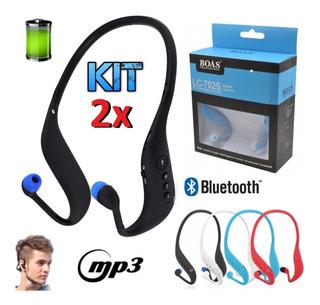 Kit 2 Fones Ouvido Sem Fio Bluetooth Radio Fm Mp3 Caminhada