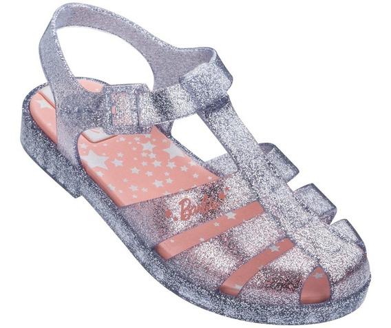 Sandalia Infantil Barbie Glitz Prata Grendene Tam 23 Ao 33