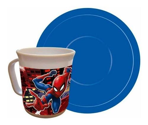 Imagen 1 de 1 de Taza Con Plato Spiderman Ha178 Cresko