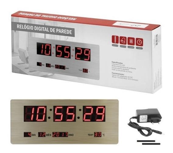 Relógio Led Inox Parede Mesa Display Painel Digital Grande