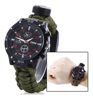 Relógio Sobrevivência Tático Paracord Pederneira Bussola 5x1 Bussula Faisca Para Fogo