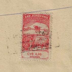 Brasil 1957 Selo Fiscal Do Município São Jerônimo Rs No Cr$4