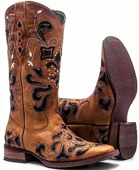 Bota Texana Feminina West Country/vimar Caramelo Com Glitter