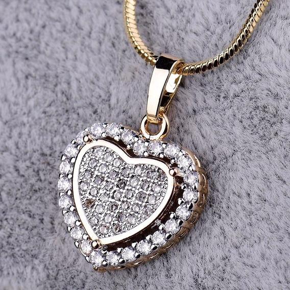 Promoção Colar E Coração Safira 18k Ouro Goldfile H1030 Caix