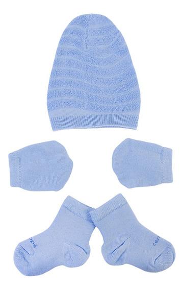Kit Saida Maternidade Menino Recem Nascido Conjunto 3 Peças