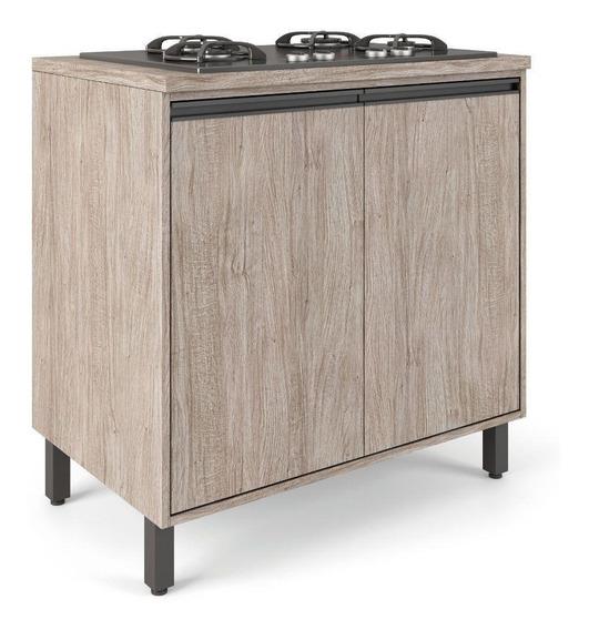 Armário Chão Cozinha Balcão Com Tampo 2 Portas 4 Pés Mdf