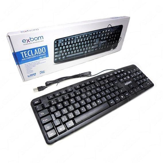 Kit 6x Teclado Usb Com Fio Preto Abnt 107 Teclas Computador