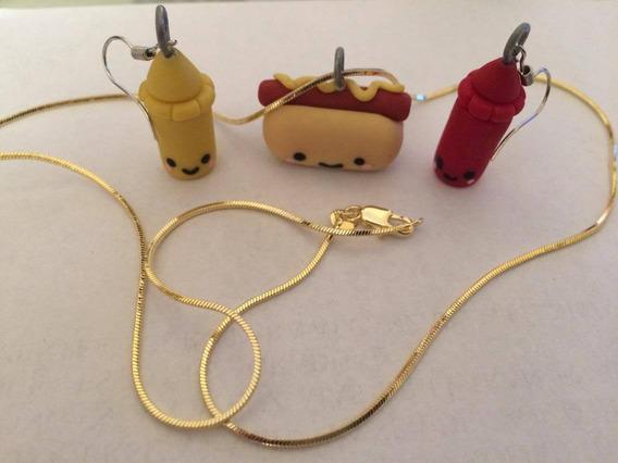 Collar De Oro O Plata Hotdog Aretes De Ketchup