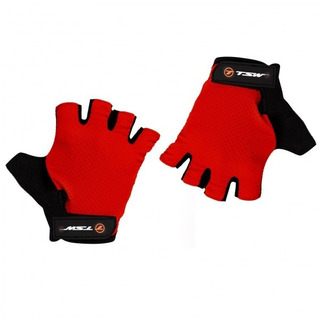 Luva Ciclismo Tsw Combat Meio Dedo Vermelha Speed Mtb Dh Par