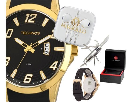 Relógio Technos Masculino Com Pulseira De Silicone Preto Dourado 2115kqa/k8p Original Com Canivete De Brinde