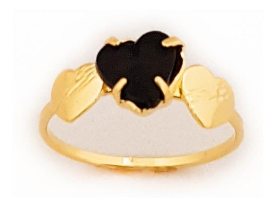 Anel Feminino Solitário Coração Negro Folheado Ouro. A144