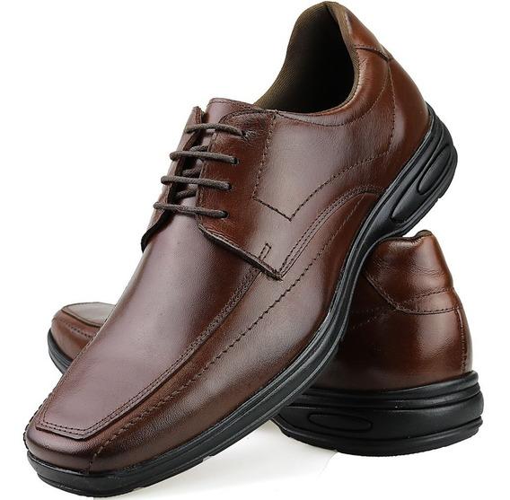 Sapato Casual Masculino Antistress Couro Legitimo Confort Dh