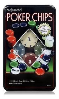 Set De Poker De 100 Fichas + Dealer