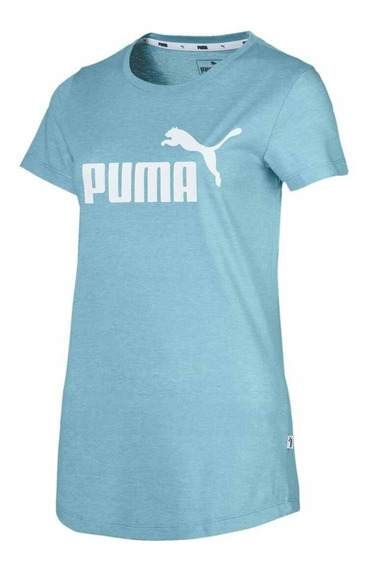 Remera Puma Essentials Logo Heather Tee 852127 Dama Asfl70