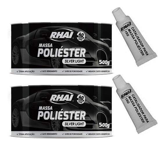 02 Massa Poliéster Silver Light Rhai 500g Com Catalisador