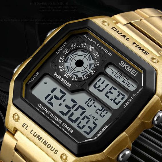 Relógio Unissex Dourado Skmei 1335 Digital El Luminous À Prova De Água Aço Inoxidável