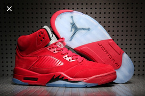 Tenis Jordan Retro 5 Red Suede 100% Original