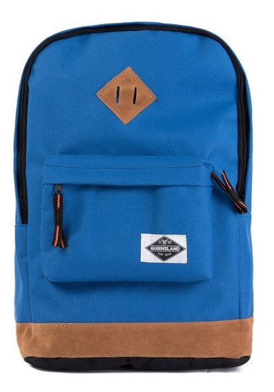 Mochila Queensland Porta Notebook Base Simil Gamuza Azul