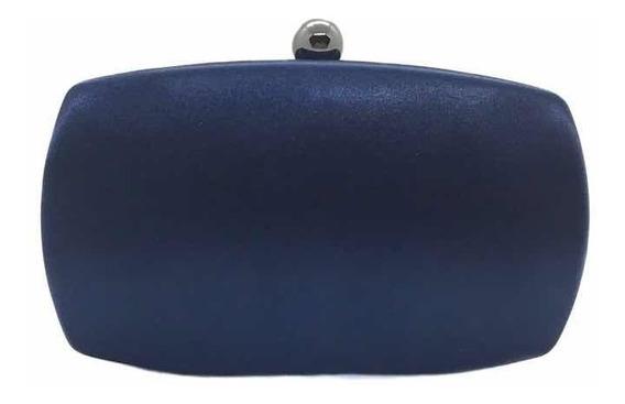 Bolsa Clutch Oval Cetim Azul Marinho