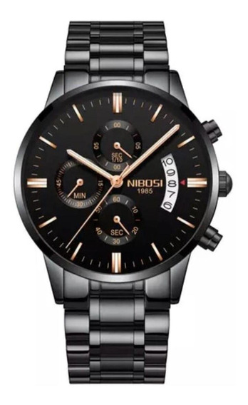 Relógio Nibosi Luxo Original Preto Todo Funcional