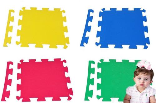 Kit 16 Placas Tatame 50x50x1cm Tapete Eva Infantil Preto