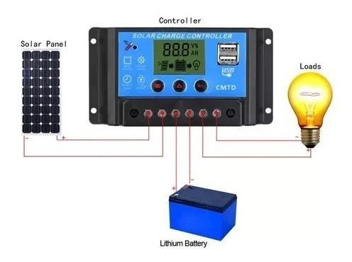 Controlador De Carga Energia Solar 12-24 Pwm 10a /com Ah