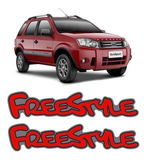Par De Emblemas Adesivo Ford Ecosport Freestyle Sem Resina