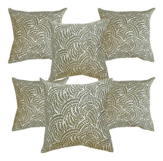 6 Cojines Decorativos Hojas Verde Blanco Cal Salas Recamaras