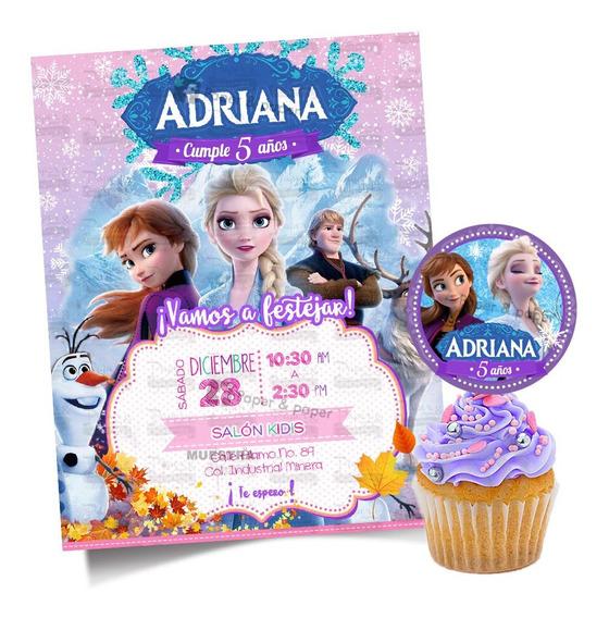Invitacion Personalizada Frozen 2 Gratis- Etiqueta Circular