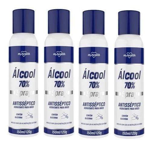 4 Álcool 70% Spray Antisséptico 150ml My Healt - Kit Com 4