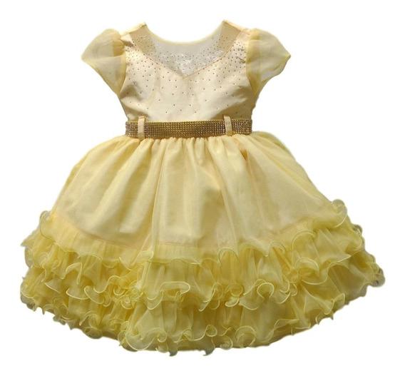 Vestido De Festa Infantil Luxo Bela E A Fera Magali Minnions