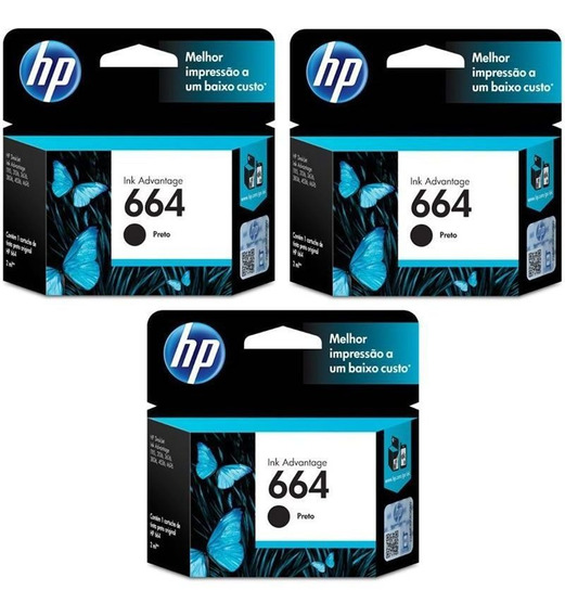 Kit Cartucho Hp 664 Preto (3 Un.) Original