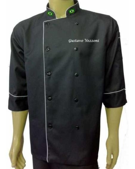 Dolma Chef Gastronomia Xgg Ou Xxgg C/ Bordados Nome Bandeira