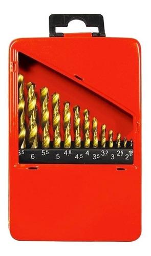 Jogo De Brocas Metal 1,5 A 6,5mm Titanio 13 Peças Mtx